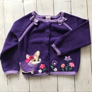 Gymboree Purple Baby Girl Puppy Dog Cardigan, 3T